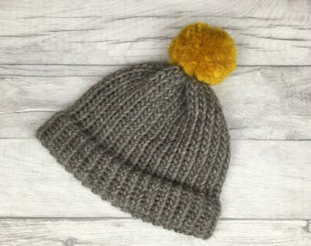 76de53eb2c7 Grey and mustard hand knitted hat - winter beanie hat - gifts for men - for  women