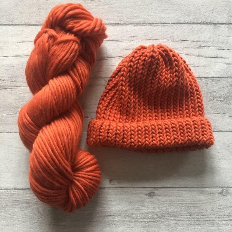 b2d0f4515c4 Burnt orange chunky knit beanie hat halloween bobble hat for