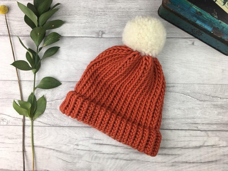 Burnt orange knitted hat merino wool  hiking winter hat  image 0