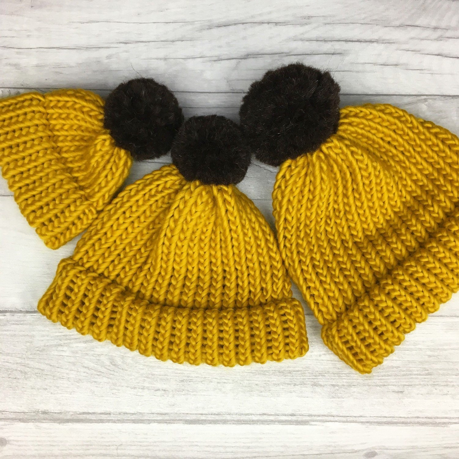 b5d4b9c5 Mustard yellow knitted beanie hat- yellow knit hat - mom baby matching  outfits - parent and child hats - newborn hat - family outfits