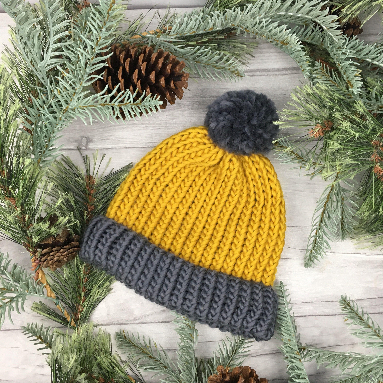 Mustard beanie knit hat mustard hat knitted ski hat pom pom  f577297bad0
