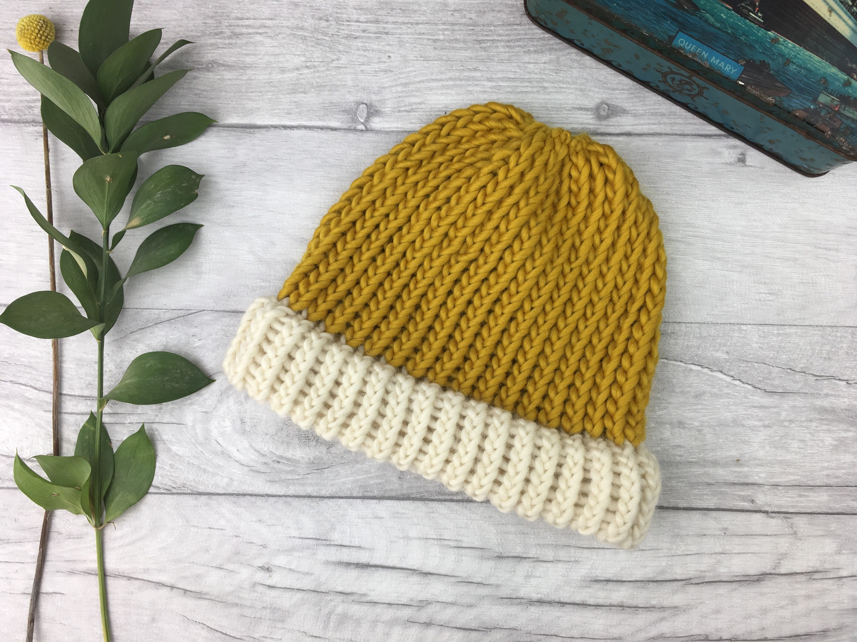 Mustard knit beanie hat gifts for men chunky knit hat  6abd060c841