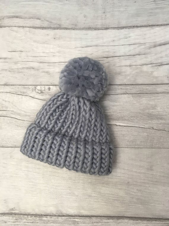 Winter skies grey baby hat knitted babies hat pom pom hat  f86eff13ef0
