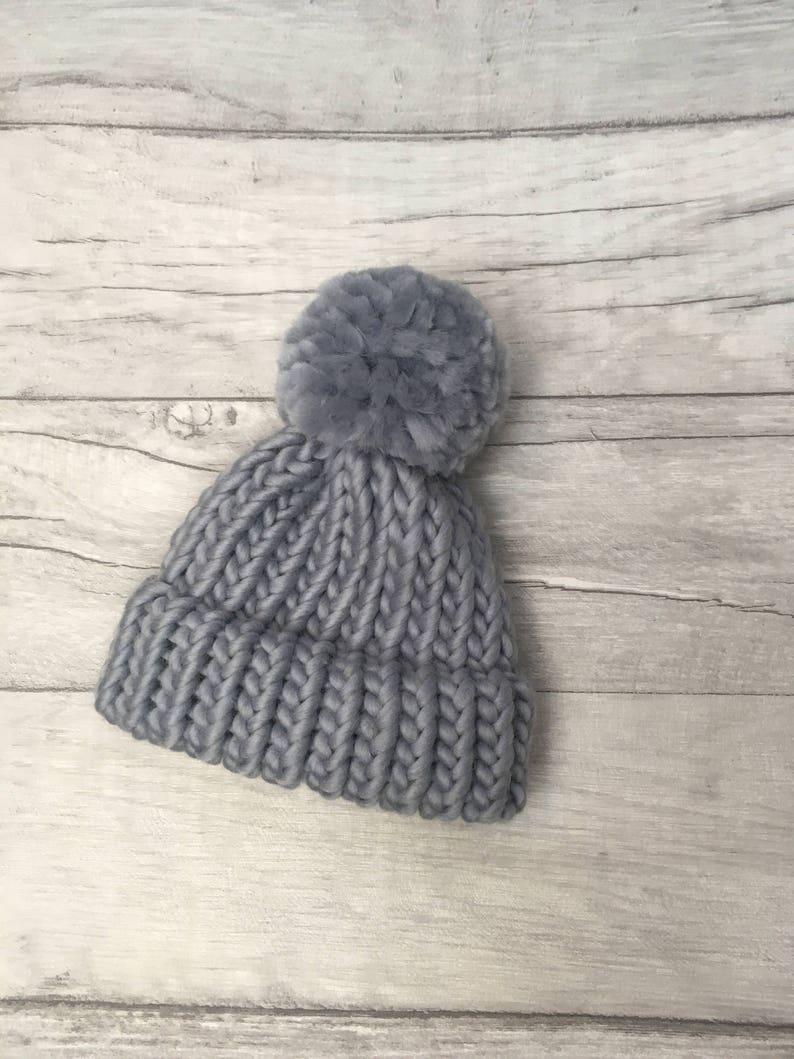 dac84477e52 Winter skies grey baby hat knitted babies hat pom pom hat