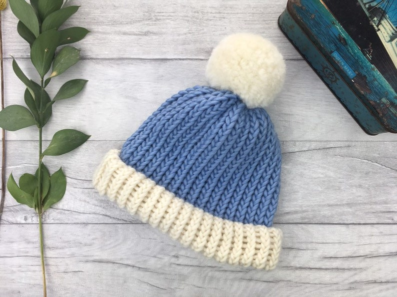 winter hat available in range of sizes Pale blue and cream merino wool chunky knit knitted hat