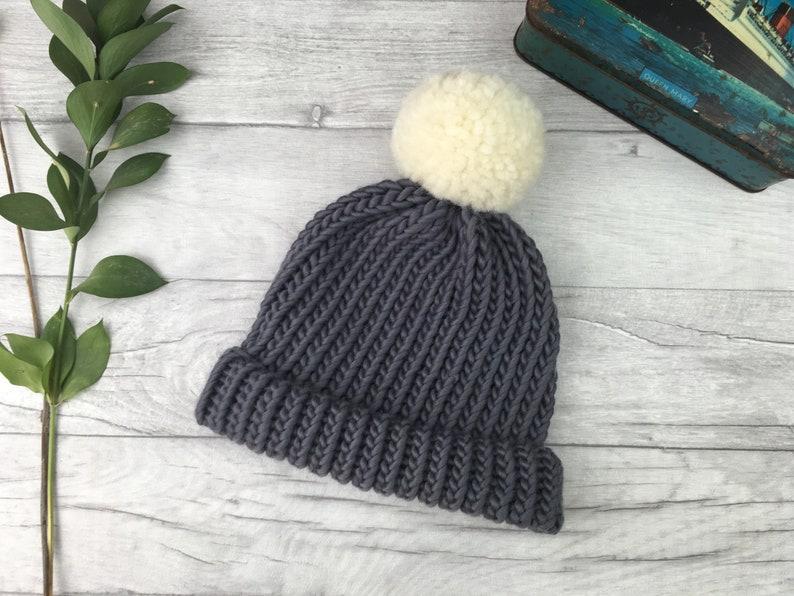 880a16e9e73f2 Dark grey hand knitted hat mens wool hat fisherman hat