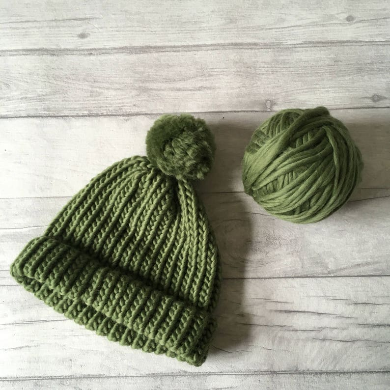 60f66fb8cd73b Olive green knitted hat beanie hat for men chunky knit hat