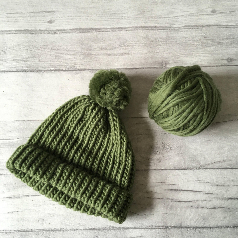 d5185cde2 Olive green knitted hat - beanie hat for men - chunky knit hat for women -  luxury knitwear - pom pom hat