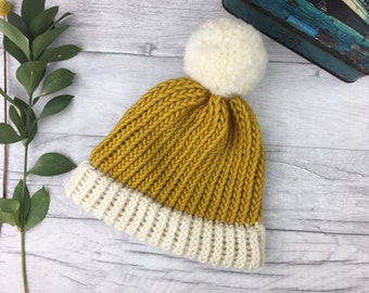 Mustard knitted hat, merino wool bobble hat, knit accessories, knitted accessories