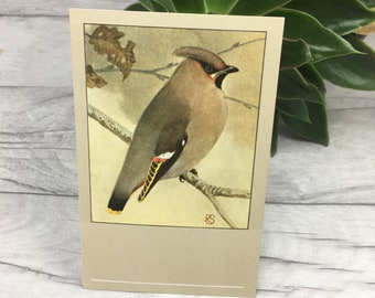 Gardening gift waxwing bird print vintage postcard muted tones wildlife gift grandfather gift fathers day card stepfather woodland nursery