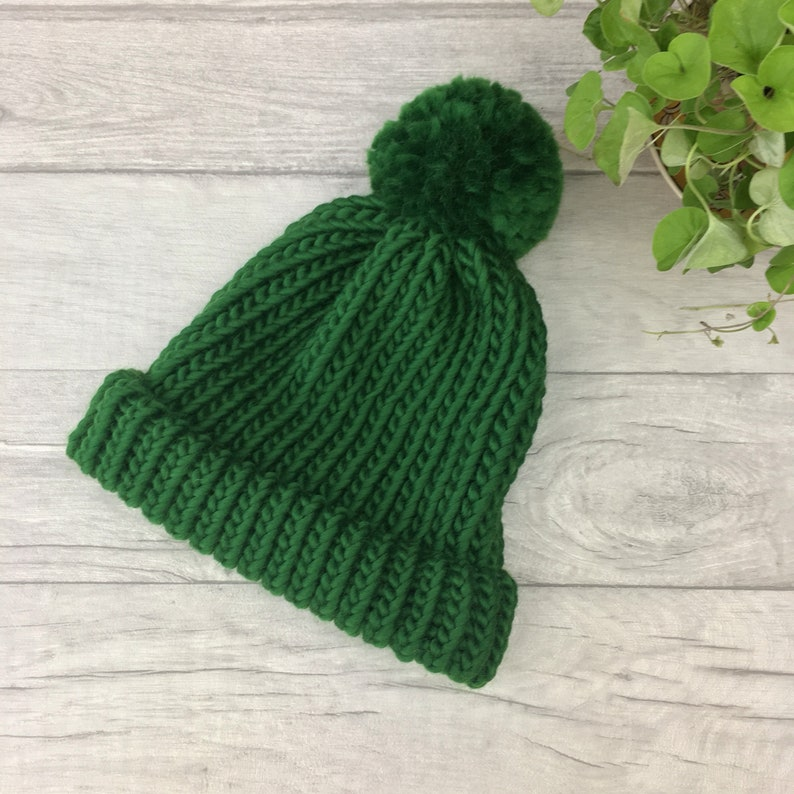 2f8edecea Pine green knitted hat - green beanie hat - hand knitted bobble hat -  merino wool hat - fisherman hat men - women hat