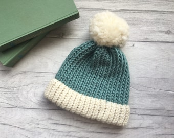 Duck egg blue knitted hat, bobble hat women, knitted hat, blue knit hat