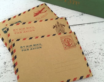 Airmail envelopes supply wedding decor mini envelopes kraft envelopes travel journal wedding invites wedding favor airplane party voyage inv