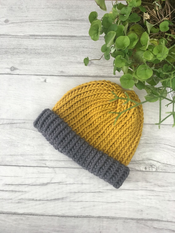 Grey and mustard fishermans beanie hat hand knit hat mens  629da3d241a