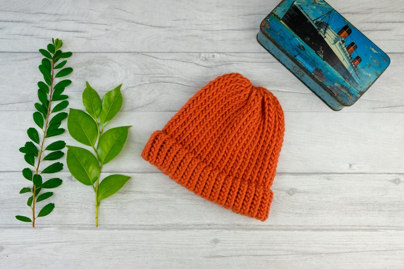 ddff2640 Burnt orange chunky knit beanie hat ski accessories | Etsy