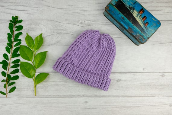 free shipping pastel goth fashion hat UK seller hand knitted winter hat Lavender purple knitted beanie hat made from pure merino wool
