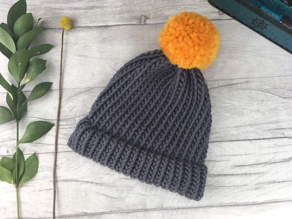 Dark grey beanie hat with yellow pompom in chunky knit style - winter hat -  bobble hat - fall autumn 04cd0a9c06d