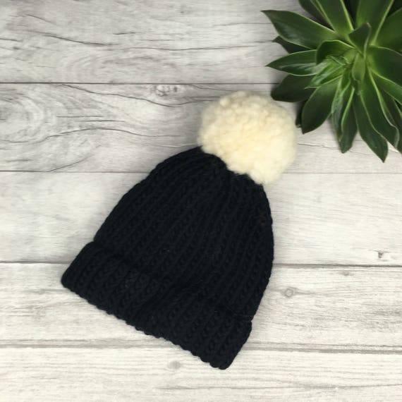 2921a904a Black knitted beanie hat cream pom pom hand knitted merino hat etsy black  and white hat womens hat adopted mother mother in law knit hat