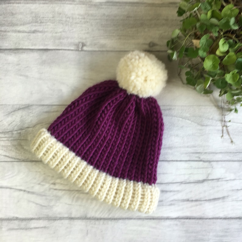 190508767809d8 Purple and cream knitted hat newborn baby hat toddler knit | Etsy