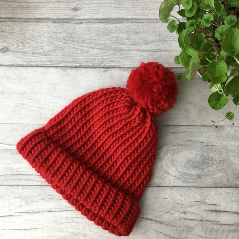 6a7f429e791e73 Red hat bobble hat winter hat hand knitted hat pompom hat | Etsy