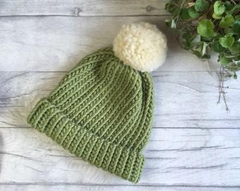 Sage bobble hat, chunky knit hat, merino wool beanie hat, womens pom pom hat