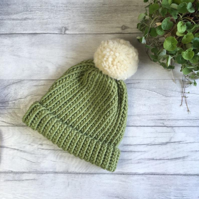 e9ea367cacf Sage green pom pom hat back to school kids beanie knitted