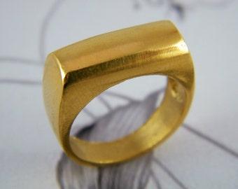 Gold signet ring rectangle ring
