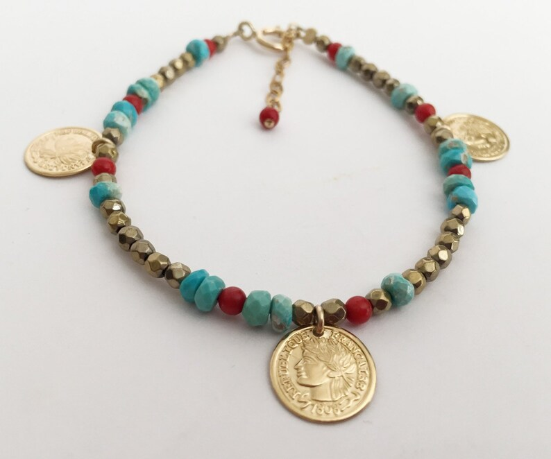 9a5177f3158b7 Gold coral turquoise coin bracelet Colourful boho bracelet Gemstone  bracelet with charms