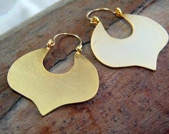 Leaf earrings big gold earrings