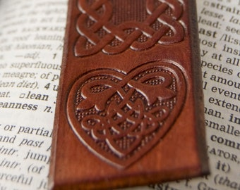 Leather Bookmark, Handmade with Celtic Heart Design, Brown or Green, by Greeneternity