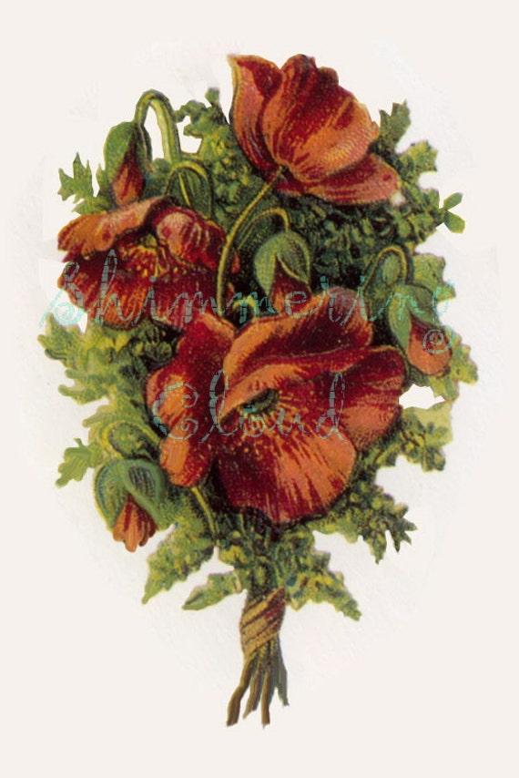Impression Numerique Vintage Carte Fleur Bouquet Rouge Etsy