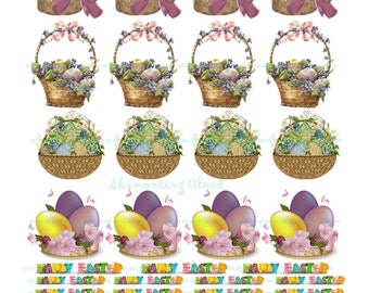 Easter basket tags etsy gift tags cutout eggs easter basket quote words collage negle Gallery