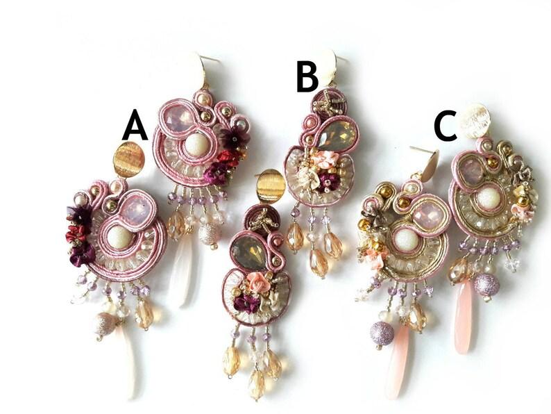 Pink Triangle Baroque Earrings  Paper Earrings Mixed Media Jewelry Pink Earrings Long Earrings Vintage Look Statement Earrings Gift for Mom
