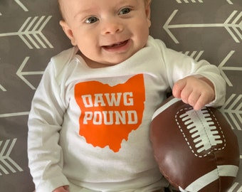 Custom-Made Personalized Newest Browns Fan Bodysuit Football Jersey Great Baby Announcement Reveal or Gift