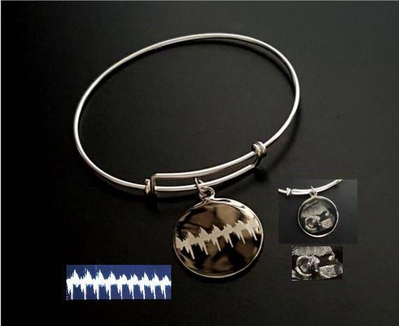 YOUR Babys HEARTBEAT Fingerprint Handprint Footprint Handwriting Signature Dog Paw Sterling Silver Forever Memorial Cable Bracelet