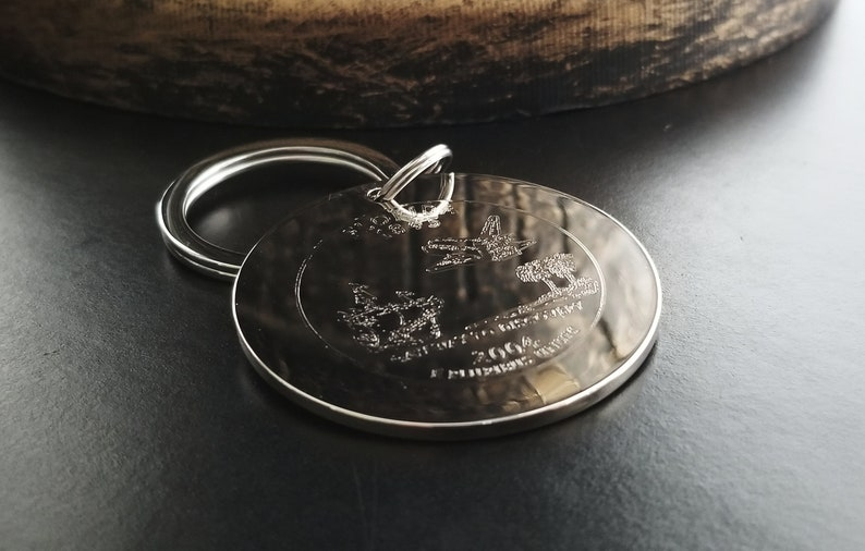 Personalized Keychain Coin Replica or Your Business Logo Art Drawing Custom Key Fob Rhodium /& Stainless Steel Grooms Father/'s Day Gift