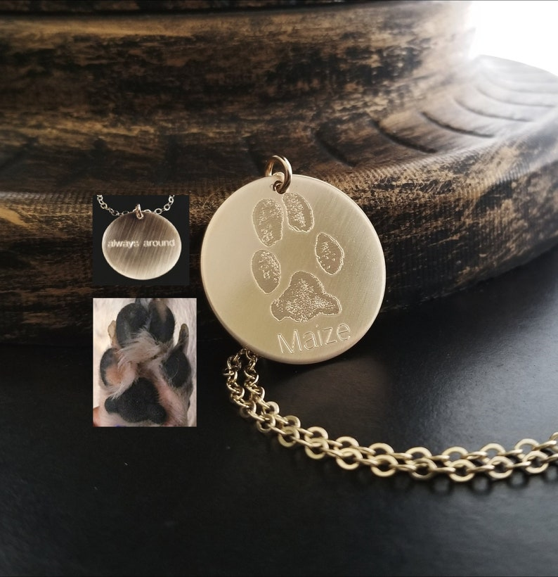 1ee90f66e5d24 Paw Print Necklace Cat Pet Paw in Sterling Silver .925 or 14k Gold Filled  Rose Gold Personalized Custom Forever Memorial Engraved ONE Charm