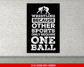 Wrestling Personalized 6x2 Vinyl Birthday Banner Free Shipping