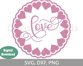 Love & Hearts digital download file. Cut File for Cricut, Silhouette or laser. Wedding cards or decor