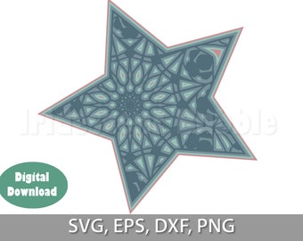 Lace Star Mandala Cut Files, Digital Download, Print and cut For Cricut or Silhouette, laser, vinyl cutter 4 layers