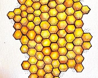 "Honeycomb Original Watercolor Painting - 6"" x 9"""