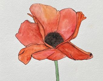 Single Poppy - Original Watercolor Painting