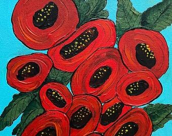 Modern Poppies Original Art - Acrylic on Canvas 8x10