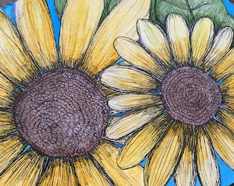 Sunflowers Original Watercolor Painting 9x12