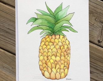 Pineapple Original Watercolor Painting One-of-a-Kind Art 9x12
