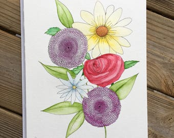 Floral Bunch Original Watercolor Painting One-of-a-Kind Art Drawing
