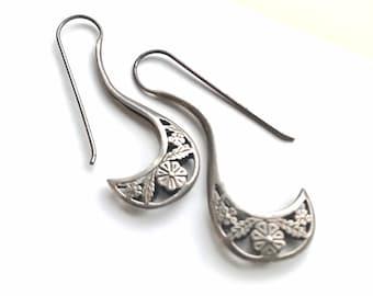 Vintage Silver Floral Hook Earrings