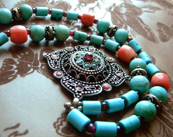 Vintage Genuine Turquoise, Coral, and Silver Necklace