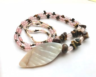 Pink Shell & Tiger's Eye Pendant Necklace