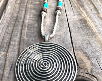 Round Zen Turquoise Leather necklace